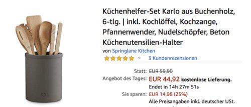 """Springlane Küchenhelfer-Set """"Karlo"""" aus Buchenholz mit Beton Küchenutensilien-Halter, 6-tlg. - jetzt 25% billiger"""