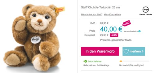 "Steiff ""Chubble"" Teddybär, 25 cm - jetzt 27% billiger"