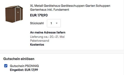 Svita XL Metall-Gerätehaus (213x127x185cm) in Braun, inkl. Metallfundament - jetzt 10% billiger