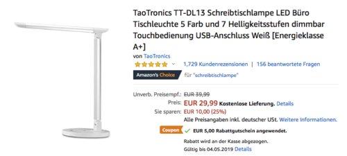 TaoTronics TT-DL13 LED-Schreibtischlampe mit 7 Helligkeitsstufen, weiß - jetzt 17% billiger