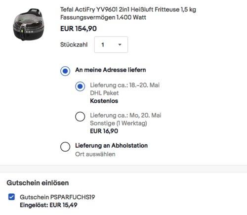 Tefal ActiFry 2in1 YV9601 Heißluft-Fritteuse, 1,5 kg Fassungsvermögen - jetzt 7% billiger