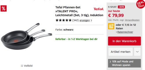 """Tefal Pfannen-Set """"TALENT PRO"""", 3-teilig (20, 24 und 28 cm) - jetzt 22% billiger"""