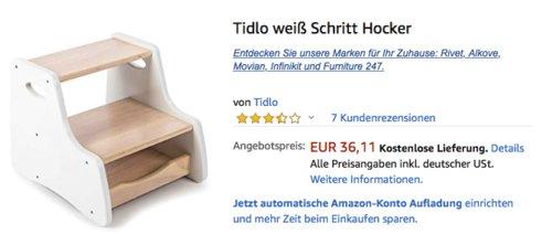 Tidlo Holz Schritt-Hocker, weiß - jetzt 39% billiger