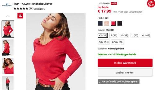 TOM TAILOR Damen Rundhalspullover, versch. Farben und Größen - jetzt 37% billiger