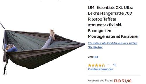 UMI Essentials XXL Ultra Leicht Hängematte in Militärgrün/Khaki oder Orange/Schwarz - jetzt 29% billiger