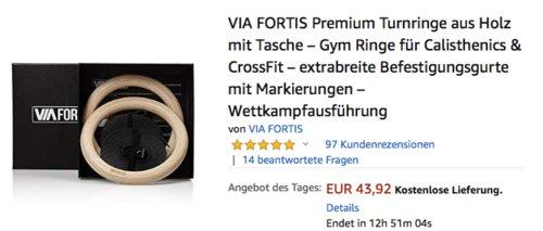 VIA FORTIS Premium Turnringe aus Holz, inkl. Befestigungsgurte - jetzt 30% billiger