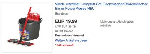 Vileda UltraMat Komplett Bodenwischer-Set (UltraMat Wischer und UltraMat Eimer) - jetzt 12% billiger