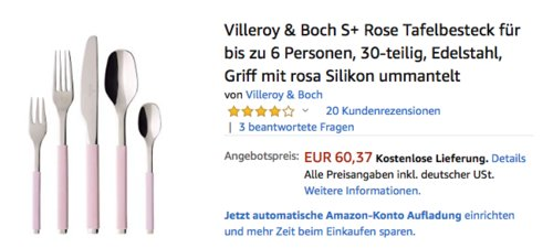 Villeroy & Boch S+ Rose Tafelbesteck für bis zu 6 Personen, 30-teilig - jetzt 28% billiger