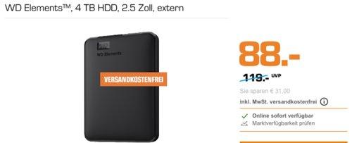 WD Elements 4 TB externe HDD-Festplatte, 2.5 Zoll, USB 3.0 - jetzt 12% billiger
