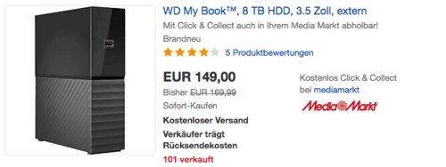 WD My Book Desktop 8 TB externe Festplatte, Passwortschutz mit Hardwareverschlüsselung - jetzt 12% billiger