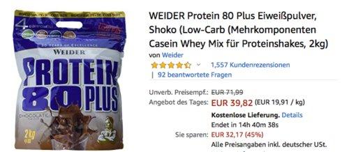WEIDER Protein 80 Plus 2 kg Eiweißpulver Shoko, Mehrkomponenten Casein Whey Mix für Proteinshake - jetzt 13% billiger