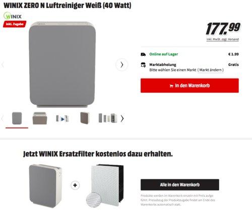 WINIX ZERO N Luftreiniger inkl. Ersatzfilter - jetzt 19% billiger