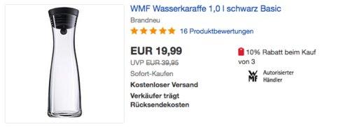 WMF Basic Wasserkaraffe 1,0 Liter, 29 cm hoch - jetzt 20% billiger