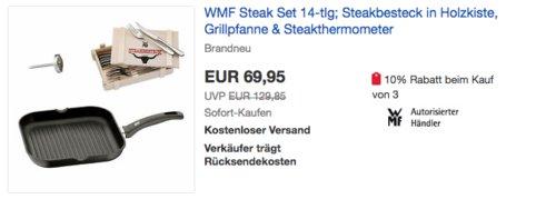 WMF Steak Set aus Steakbesteck in Holzkiste, Grillpfanne & Steakthermometer (14-teilig) - jetzt 13% billiger