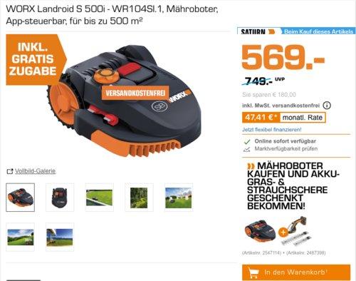 WORX Landroid S 500i - WR104SI.1 Mähroboter inkl. Worx WG801E  20V Gras- und Strauchschere - jetzt 11% billiger
