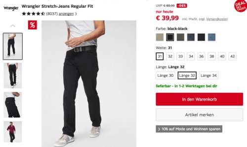 Wrangler Herren Stretch-Jeans Regular Fit, versch. Farben und Größen - jetzt 10% billiger