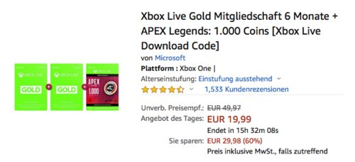 Xbox Live Gold Mitgliedschaft 6 Monate (3+3) inkl. APEX Legends: 1.000 Coins [Download Code] - jetzt 50% billiger