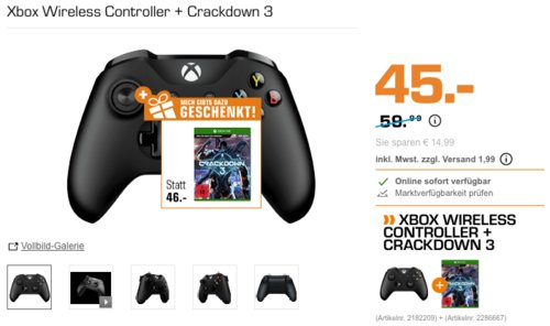 Xbox Wireless Controller inkl. Crackdown 3 - [Xbox One] - jetzt 40% billiger