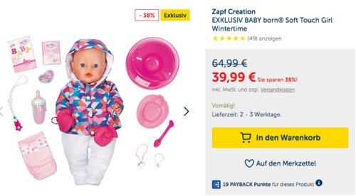 Zapf Creation EXKLUSIV BABY born® Soft Touch Girl Wintertime - jetzt 25% billiger