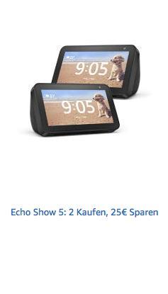2 x Echo Show 5 vorbestellen und 25€ Sparen - jetzt 14% billiger