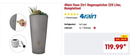 4Rain Vaso 2in1 Regenspeicher 220 Liter, Komplettset - jetzt 14% billiger