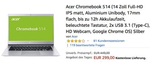 Acer Chromebook 514 silber (14 Zoll,  Intel Pentium N4200,  64GB eMMC, 4GB RAM) - jetzt 25% billiger