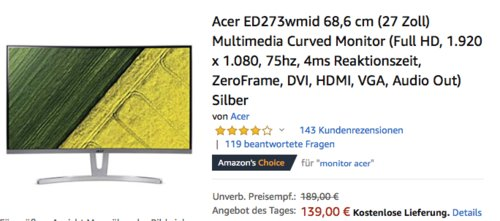 Acer ED273wmid 68,6 cm (27 Zoll) Multimedia Curved Monitor (Full HD, 4ms) - jetzt 19% billiger