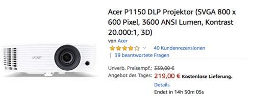 Acer P1150 DLP Projektor (SVGA 800 x 600 Pixel, 3600 ANSI Lumen, 20.000:1, 3D) - jetzt 19% billiger