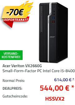 Acer Veriton VX2660G Small-Form-Factor PC (i5-8400 , 8GB RAM, 1.000GB HDD, Intel HD 630 Grafik, Win 10 Pro ) - jetzt 11% billiger