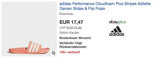 adidas Cloudfoam Plus Stripes Damen Adilette/Badesandale, rosa (37-44 1/2) - jetzt 33% billiger