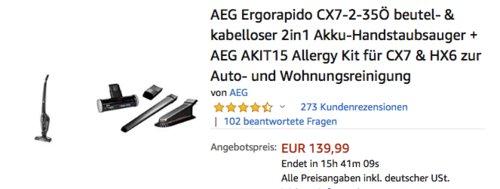 AEG Ergorapido CX7-2-35Ö 2in1 Akku-Handstaubsauger inkl. AEG AKIT15 Allergy Kit für CX7 & HX6 zur Auto- und Wohnungsreinigung - jetzt 17% billiger
