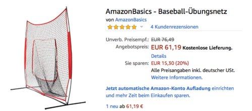 AmazonBasics - Baseball-Übungsnetz, 218 x 29  x 115 cm - jetzt 20% billiger