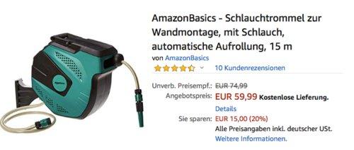 AmazonBasics - Schlauchtrommel zur Wandmontage inkl.15 m Schlauch und automatischer Aufrollung - jetzt 20% billiger