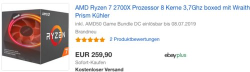 AMD Ryzen 7 2700X Prozessor boxed (3,7GHz, 8 Kerne, Socket AM4) YD270XBGAFBOX - jetzt 10% billiger