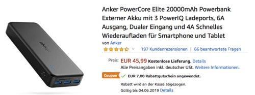 Anker PowerCore Elite 20000mAh Powerbank mit 3 PowerIQ Ladeports - jetzt 15% billiger
