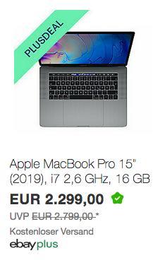 """Apple MacBook Pro 15"""" MV902D/A ( i7 2,6 GHz, 16 GB RAM, 256 GB SSD) - jetzt 2% billiger"""