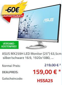 "ASUS MX259H LED Monitor (25"") 63,5 cm, integrierte Lautsprecher - jetzt 27% billiger"
