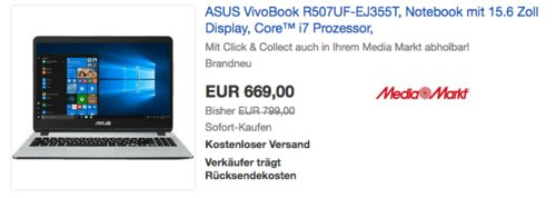 ASUS VivoBook S15 R507UF-EJ355T 15.6 Zoll Notebook (i7, 8 GB RAM, 512 GB SSD, GeForce® MX130, Windows 10 Home) - jetzt 16% billiger