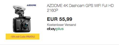AZDOME 4K Dashcam GS63H (GPS, WIFI, 170° Weitwinkelobjektiv) - jetzt 10% billiger