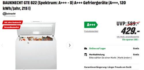 Bauknecht GTE 822 A+++ Gefriertruhe, 215 Liter - jetzt 4% billiger