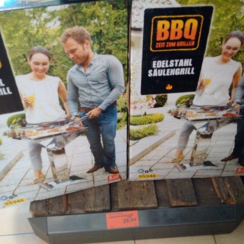 BBQ Edelstahl-Säulengrill, 66 x 95 x 50,5 cm - jetzt 25% billiger