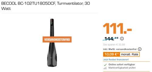 BECOOL BC-102TU1805DCF Turmventilator, 12 Geschwindigkeitsstufen - jetzt 23% billiger