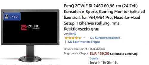 BenQ ZOWIE RL2460 60,96 cm (24 Zoll) Gaming Monitor, 1 ms - jetzt 11% billiger