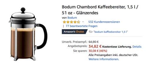 Bodum Chambord Kaffeebereiter, 1,5 Liter - jetzt 22% billiger