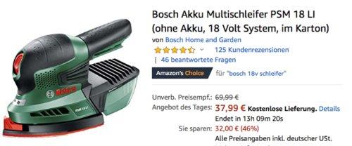 Bosch Akku Multischleifer PSM 18 LI ohne Akku (18 Volt System, im Karton) - jetzt 21% billiger