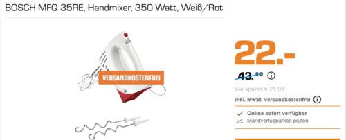 BOSCH MFQ 35RE Handmixer, 350 Watt - jetzt 13% billiger