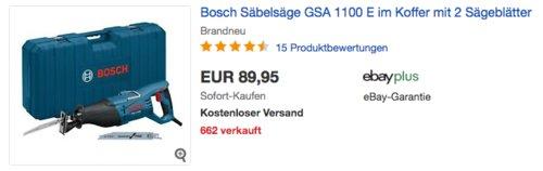Bosch Professional Säbelsäge GSA 1100 E inkl. Koffer und 2 Sägeblätter - jetzt 13% billiger