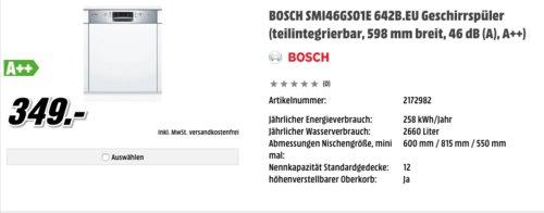 Bosch SMI46GS01E Serie 4 Geschirrspüler,  A++, teilintegrierbar - jetzt 10% billiger