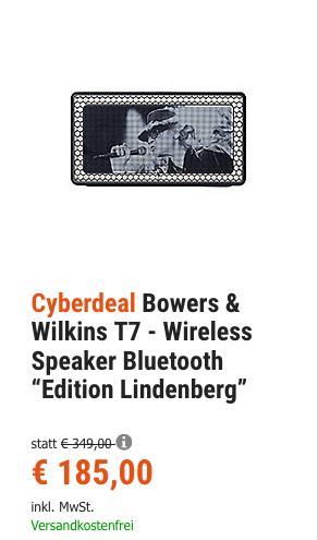 "Bowers & Wilkins T7 Bluetooth-Lautsprecher ""Edition Lindenberg"" - jetzt 34% billiger"