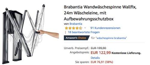 Brabantia Wandwäschespinne Wallfix, 24m Wäscheleine - jetzt 8% billiger